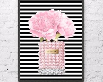 Pink Valentino art print Valentino perfume with Pink Peony flowers Valentino poster Valentino painting Flowers art print Fashion decor art