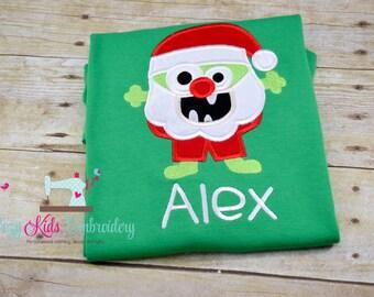 Santa Monster shirt, Christmas Shirt, boy girl kid child toddler infant baby custom embroidery monogram name personalized