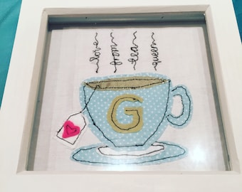 Personalised Sewn Initial Cuppa Frame