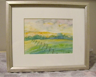 Framed Watercolour Painting:  Evening Fields