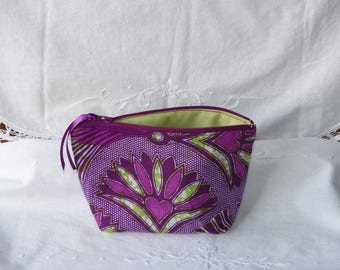 Pouch, purple and green African fabric