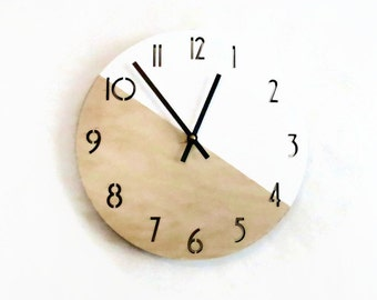 Wood Wall Clock,  Numbered Clock, Home Decor, Housewares, Home and Living