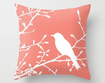Bird on Branch Pillow with insert - Coral Decor - Coral Pillow with insert - Bird Pillow with insert - Modern Home Decor -