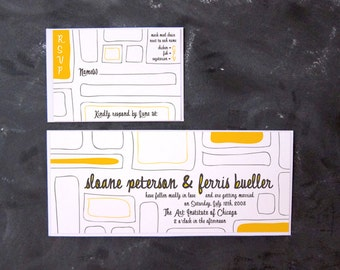 Ferris et Sloane - Hand-drawn Color Block Invitations et RSVP