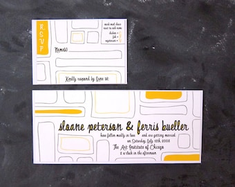Ferris and Sloane - Hand-drawn Color Block Invitations and RSVPs
