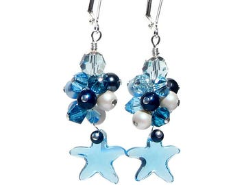 Aquamarine Swarovski Crystal Starfish Pendant Earrings in Ocean Colors, Coastal Jewelry for a Beach Wedding for the Bride or Bridesmaids
