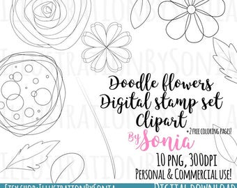 Doodle flowers Clipart- Flower Stamps -Digital Stamps - Digital doodles - Cute flowers -Kawaii Flowers - Coloring pages - 300dpi - 10 images