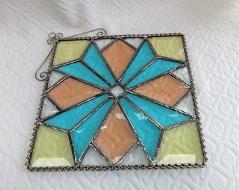 Stained Glass Beveled Quilt, Stained Glass Panel, Stained Glass Quilt Suncatcher, Art Glass Quilt