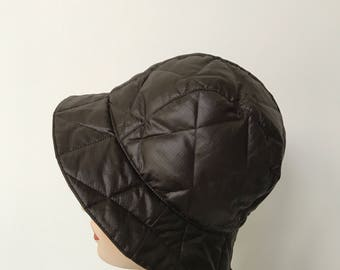 Vintage womens brown quilted bucket hat