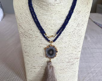 blue necklace w/ agate & tassel