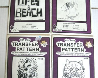 Vintage Pretty Punch Hot Iron Transfer Patterns - Sealed Envelopes - Four (4) Different Patterns - 1980's
