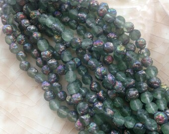 Czech Glass Tiny Round Rose Beads - Light Sea Glass Green - Vitrail Matte - Flower,  Rosebud, Floral - Pressed Glass - Small 5 mm - Qty 25