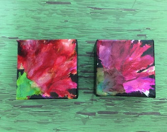 """ABSTRACT FLOWERS - set of 2 minis - Original Acrylic Painting - 3"""" X 3"""" x 1.5"""""""