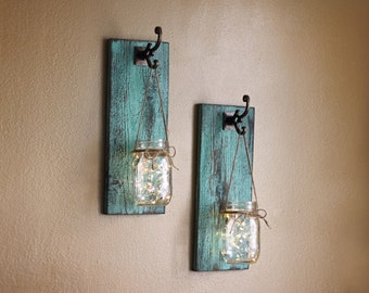Rustic Wall Decor, Mason Jar Wall Sconces, Farmhouse Wall Decor, Shabby  Chic Decor, Mason Jar Wall Decor, Lighted Wall Sconces, Wall Sconces
