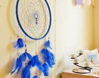 Large Blue Handmade Dream catcher - Beautiful Wall Hanging - Wall Decor - Dreamy Decoration