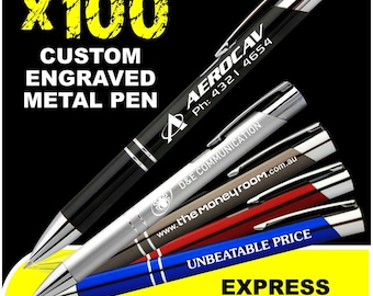 100x Custom Engraved Metal Pens Business Promotion Corporate Gift Wedding Logo