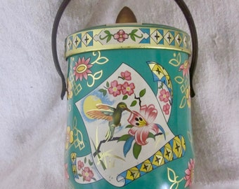 Vintage Murray Allen Candy tin, Hummingbird, teal candy tin,