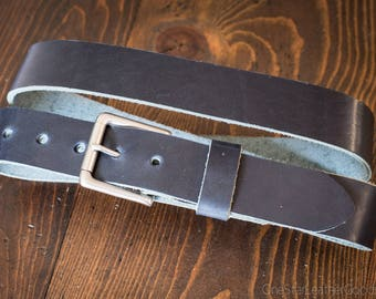 "Custom sized belt - 1.5"" width - Horween Dublin leather - heel bar buckle, cobalt blue"