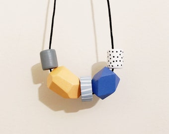 Handpainted Wooden Bead necklace | Sky blue and tangerine | READY TO SHIP