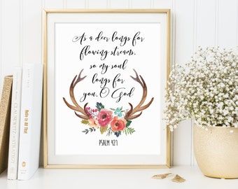 Psalm 42:1, Bible Wall Art, Antlers Printable, Antlers Print, Antlers Decor, Antlers Wall Art, Scripture Printable, Bible Verse Wall Decor