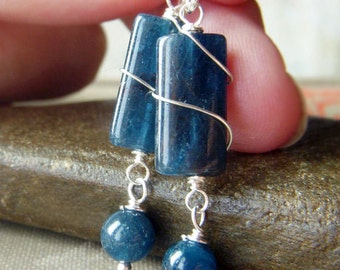 Apatite Wirewrapped Earrings Sterling Silver Gemstone Earrings, Rectangle Gemstone Earrings, Pacific Denim Blue Earrings