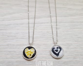 Yellow Heart Pendant - Black Heart Necklace - Yellow Heart Jewelry - Art Jewelry - Jewelry - Gift for Her - Valentine's Day Gifts (21-06N)