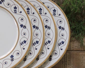 Walbrzych Blue White Dinner Plates Set of 4 Wedding Plates Replacement China