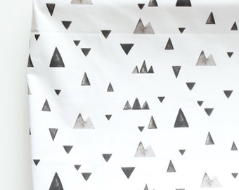 Changing Pad Cover in Watercolor Mountains, Black and White, Monochromatic