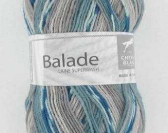 Sock - yarn knitting color oil/glow No. 503 white horse ride