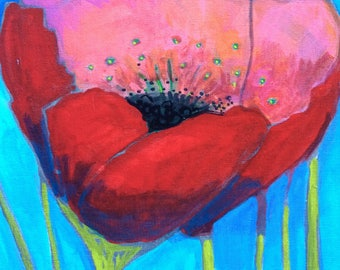 Red Poppy Painting, original painting 11x14, floral painting, flower painting