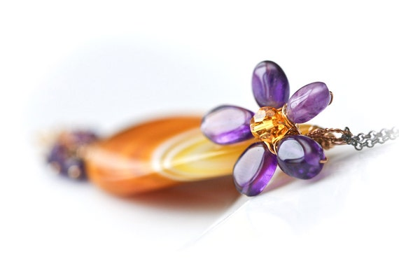 Daisy Duet - Amethyst Flower and Onyx Agate Wire Wrapped Mixed Metal Necklace