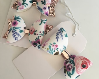 Individual vintage floral bow