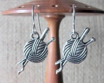 Ball of Wool & Knitting Needles Silver Earrings ~ Gift for Knitters Balls of Yarn Sterling Silver Hooks Drops Jewellery Jewelry