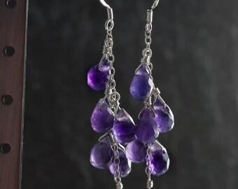 Amethyst Cascade Earrings, Amethyst Teardrop Earrings, 925 Sterling Silver, February Birthstone, Gemstone Earrings