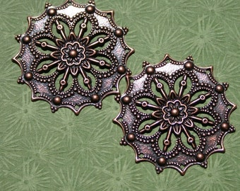 Pair 2Pcs. Antique Copper Filigree Flower Finding Large 34mm Flat Stamping Dark Oxidized Pinwheel Floral Victorian Dickensian Cool