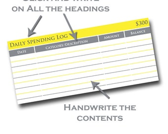 Printable Insert System for Cash Envelopes - Yellow and Gray by Pretty Finances - Daily Spending Log