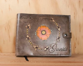Wedding Guest Book - Personalized Leather Guest Book with Bees and Flowers - For Weddings, Graduation, Airbnb, Retail Store