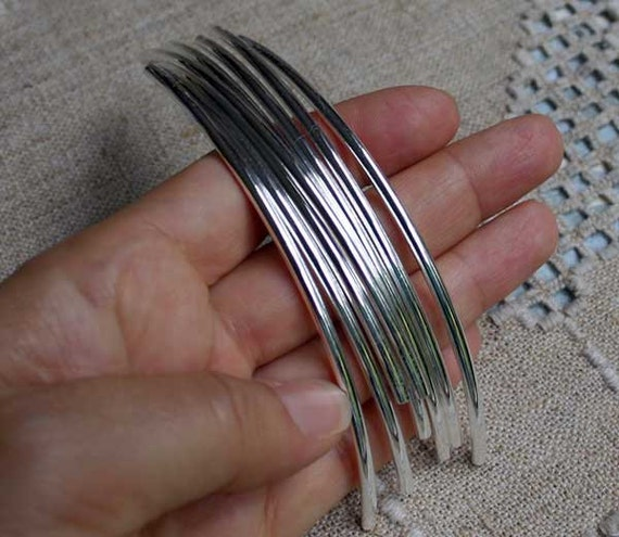 Pcs metal beads silver plated curved tube mm