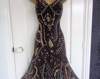 Principles petite vintage brown beaded dress from 90's size UK 8-10, US 4-6 or EU 36-38 1920 1930 flapper Art Deco Gatsby party inspired
