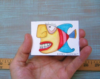 Fish-J50, Original ACEO Watercolor, Art Trading Card, Miniature Painting, by Fig Jam Studio