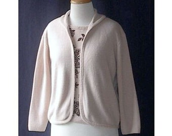 CLEARANCE SALE 50s 60s Sweater Set Flocked Shell and Cardigan Classic Vintage L