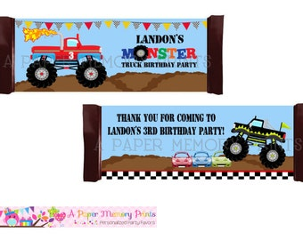 Monster Trucks Candy Wrapper - DIY Printable