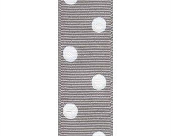 "1.5"" Grosgrain Polka Dots Ribbon- Grey / White - Berwick Offray"