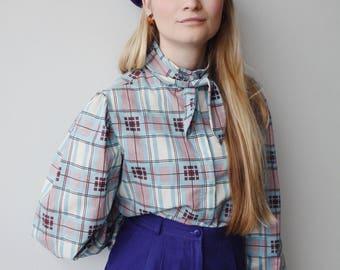 MOLLY BLOUSE | Vintage 70s tie Collar Blouse | puffed sleeve blouse | 70s blouse | plaid blouse | ABLE shoppe