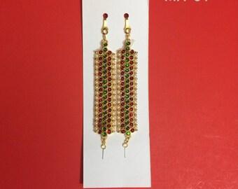 Traditional Kemp temple jewelry ear chain/Matiz for Bharatnatyam, Kuchipudi, Parties, Engagement, Weddings, Birthdays etc.