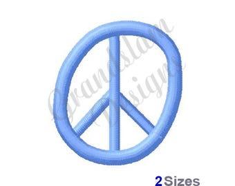 Blue Peace Sign - Machine Embroidery Design
