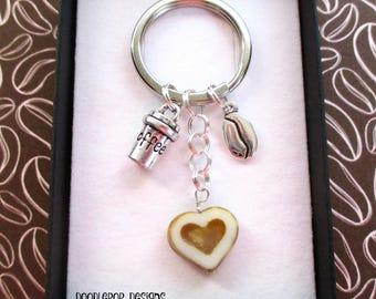 Love coffee keychain - Coffee lover gift - Coffee bean keyring - Coffee keyring - Gift for coffee addict - Stocking filler - Secret Santa
