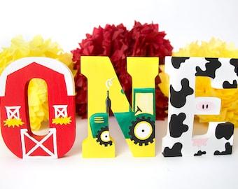 Barnyard Birthday Decorations, Farm Birthday, Barnyard ONE Letters, Barnyard 1st Birthday