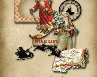 Vintage Christmas Santa Collage Sheet Printable Digital Download
