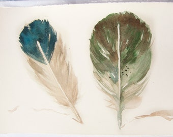 Watercolor Feather painting-Art original-Feather painting in olive green and beige